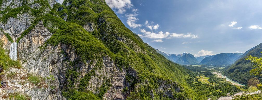 Panorama of the Boka waterfall and the Soca Valley, Slovenia