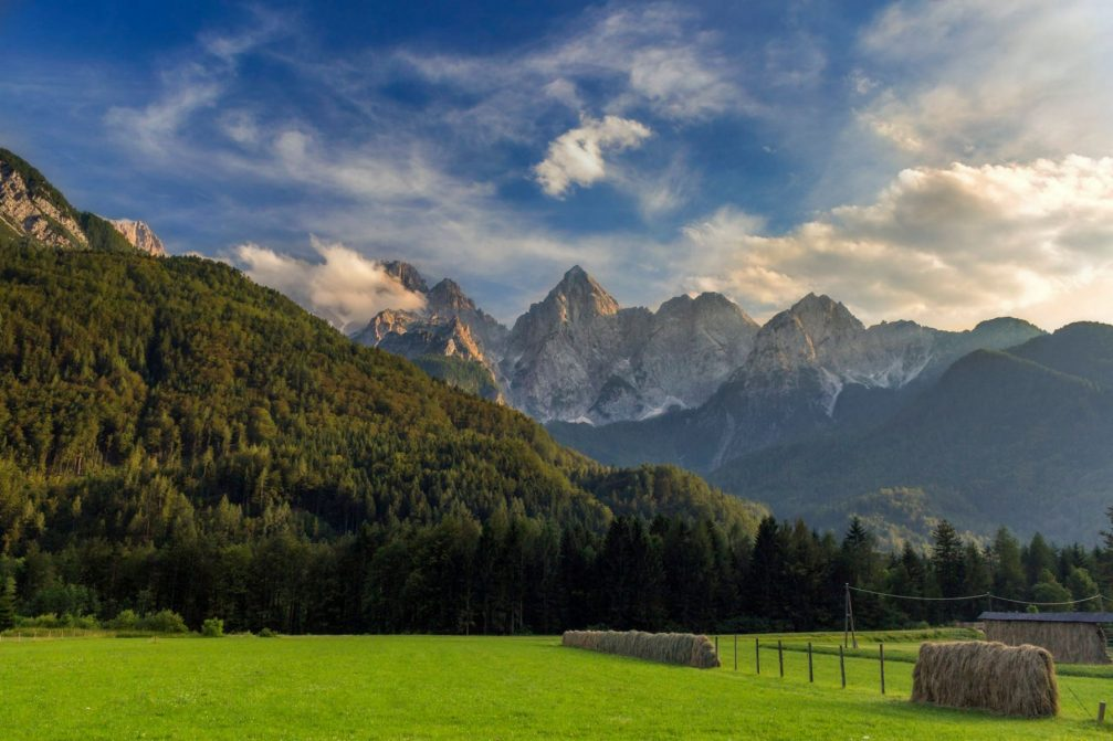 The Gozd Martuljek countryside in the Upper Sava Valley in northwestern Slovenia