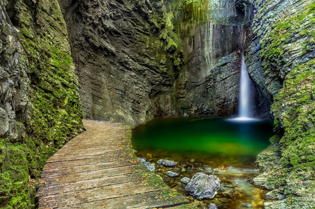 The sublimely beautiful Kozjak waterfall in Kobarid, Slovenia
