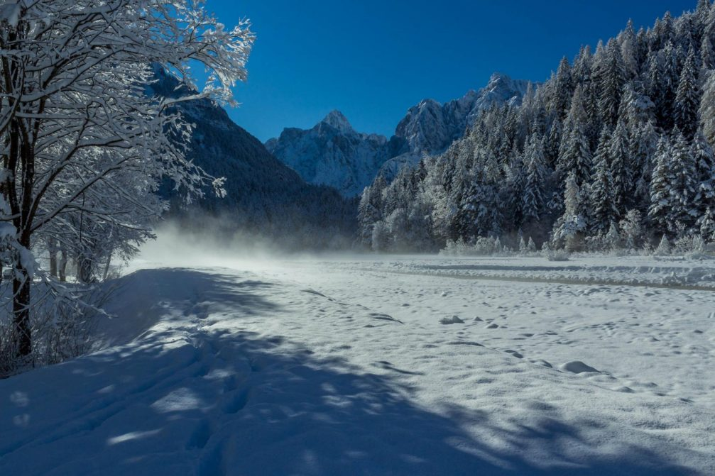 Countryside near Kranjska Gora in the Slovenian Alpine area in winter with plenty of snow