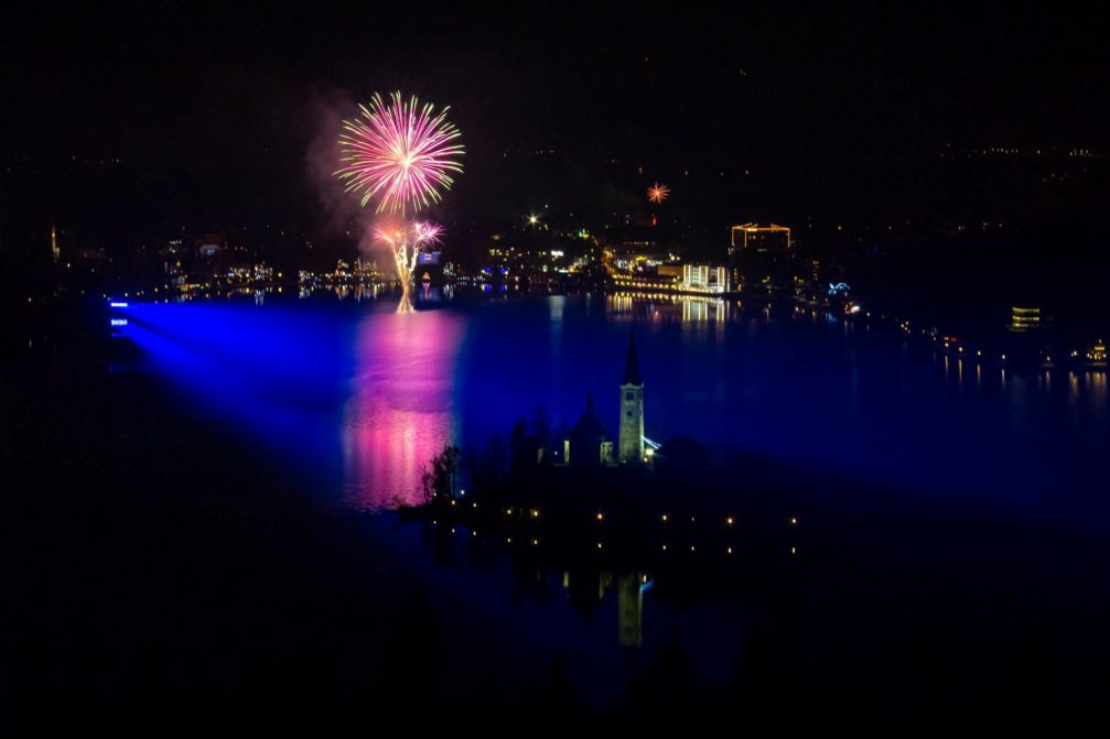 New year's fireworks over Lake Bled in Slovenia