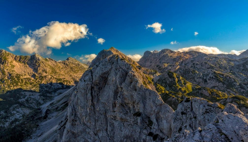 View from Mt Mala Ticarica towards the summit of the Velika Ticarica mountain, Julian Alps, Slovenia