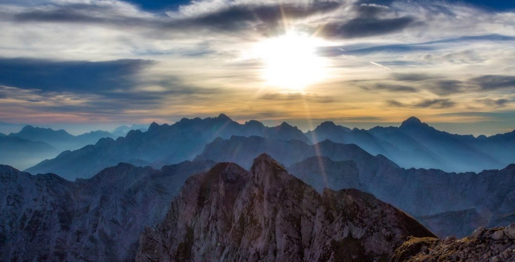 A beautiful sunrise in the Julian Alps, Slovenia