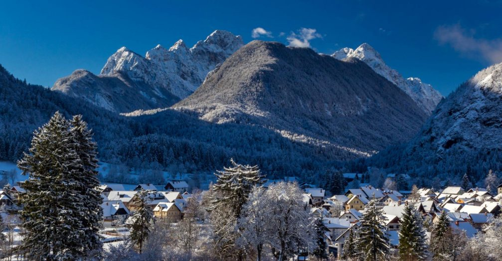 The village of Mojstrana, Slovenia in winter