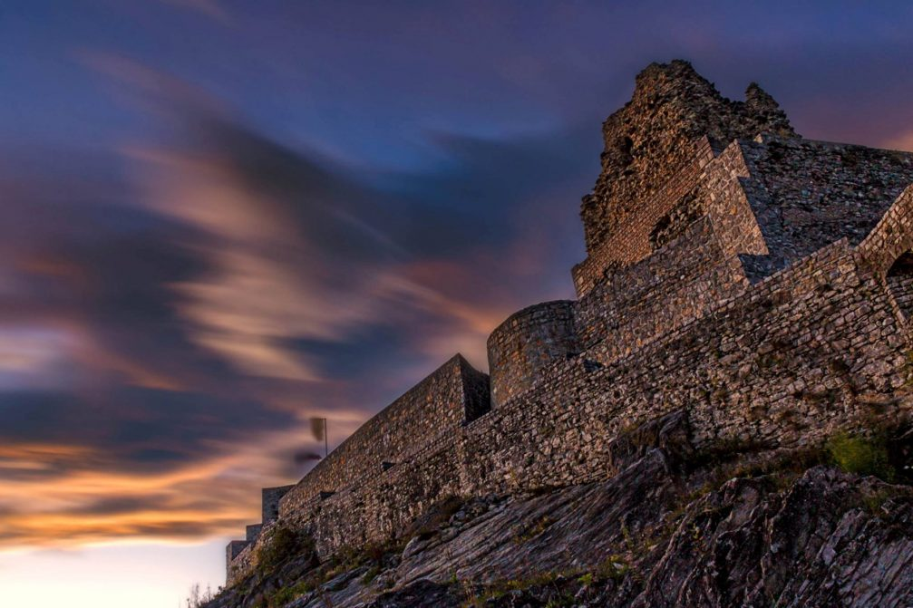 The hilltop Old Castle in Smlednik, Slovenia at sunset