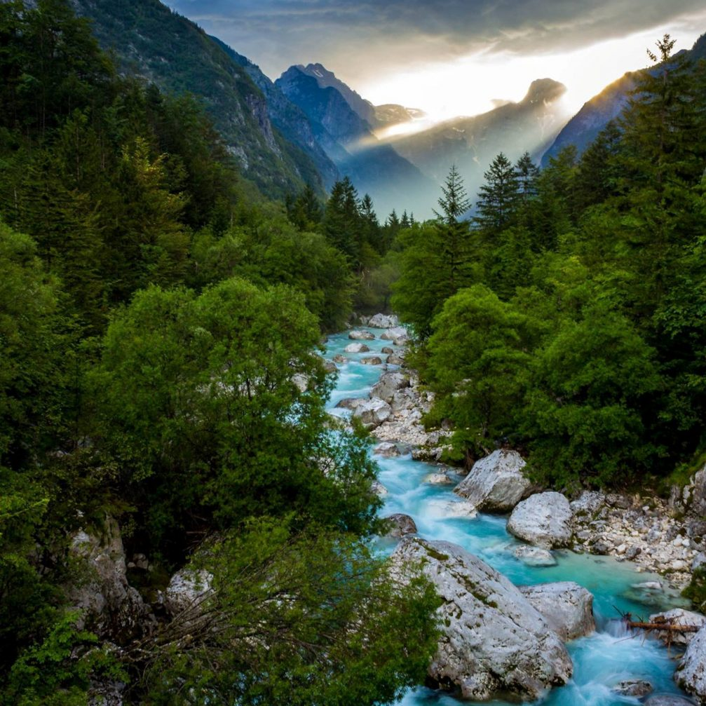 The aquamarine Soca River flowing through western Slovenia