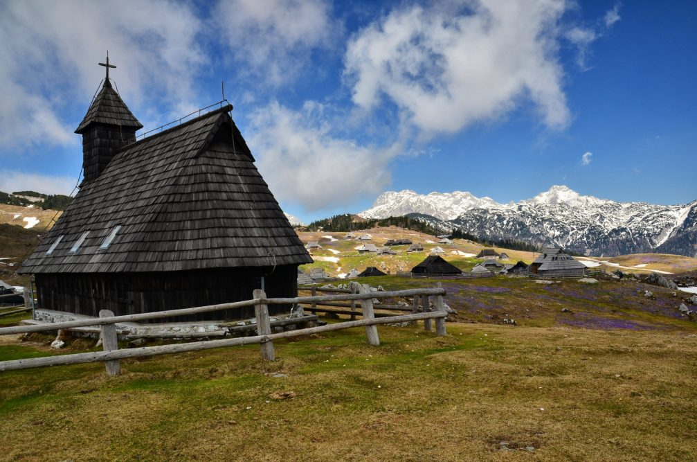 The wooden Church of Our Lady of the Snows on the Velika Planina plateau