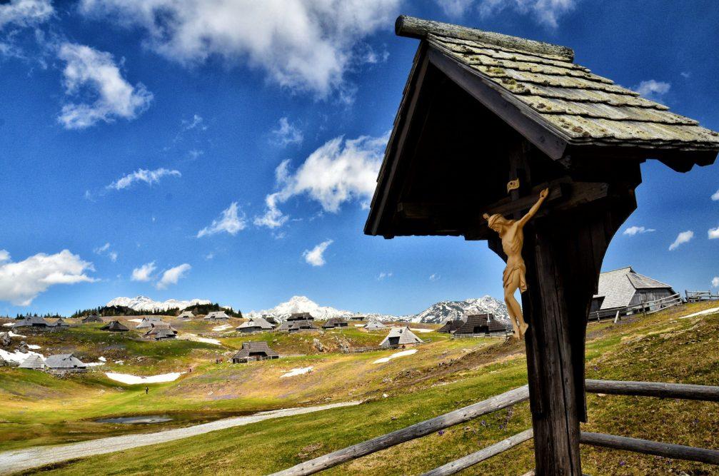 Jesus on the Cross on the Velika Planina plateau in the Kamnik-Savinja Alps, Slovenia