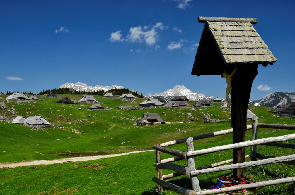 The Kamnik-Savinja Alps from the Velika Planina plateau