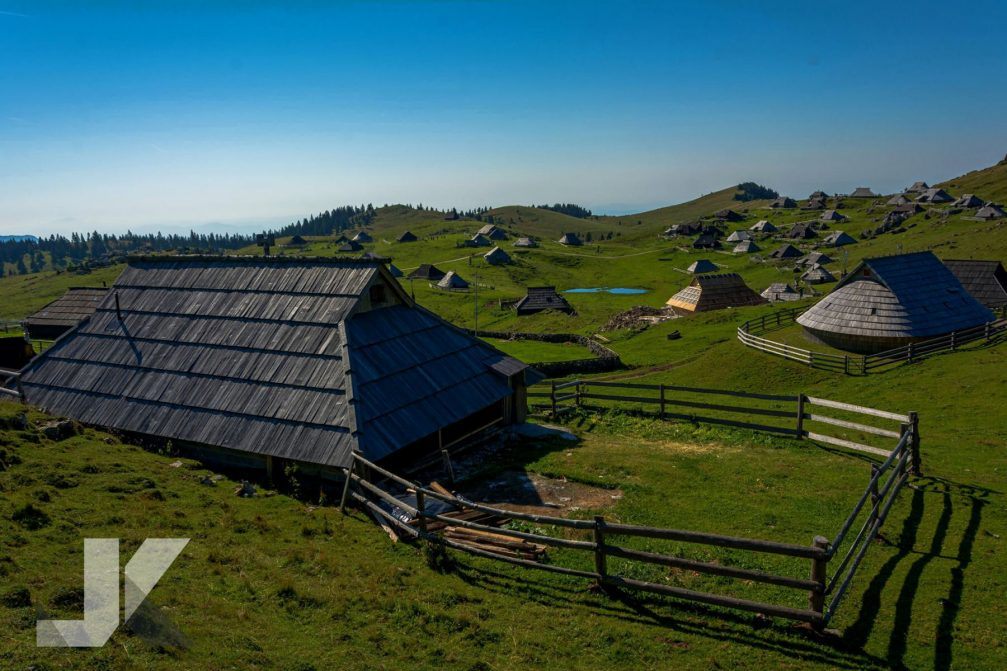 Velika Planina high-elevation Alpine settlement with traditional shepards' huts