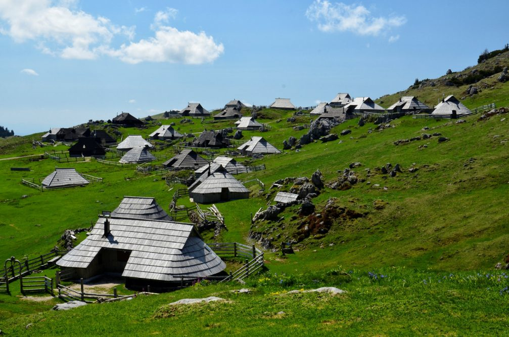 Velika Planina, a high mountain herdsmen's settlement in the Kamnik Alps, Slovenia