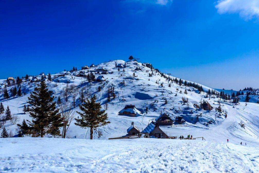 Velika Planina ski resort in winter