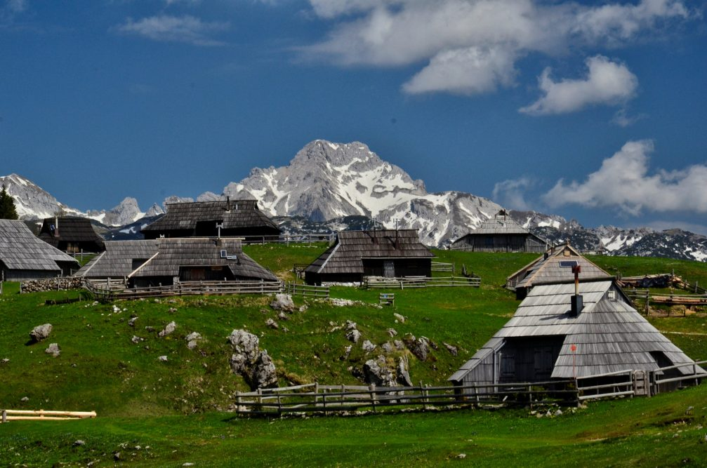 The traditional wooden huts on the Velika Planina plateau in Slovenia