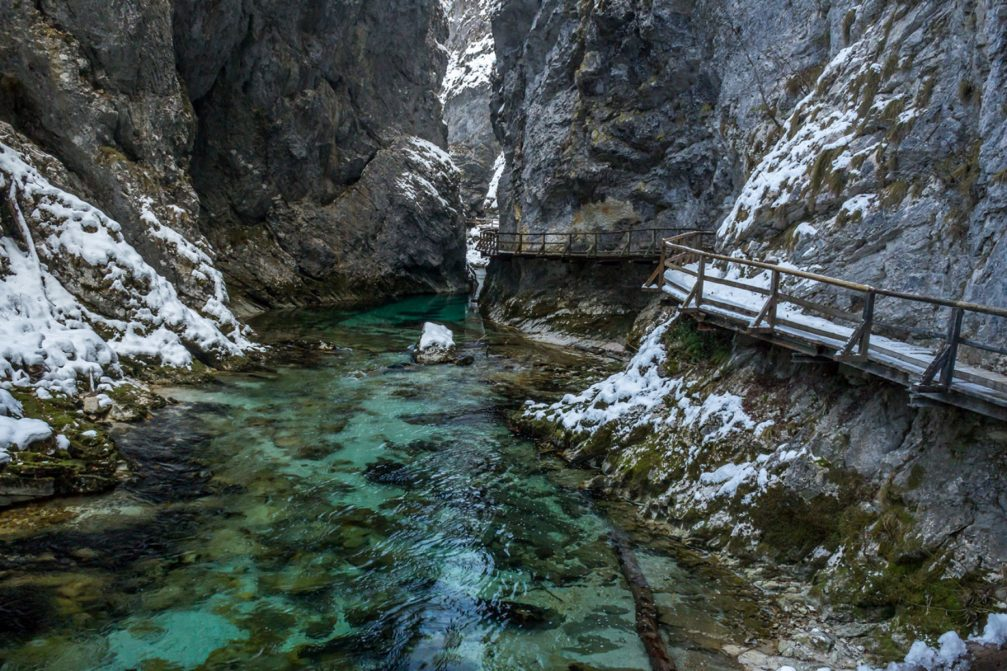 Vintgar Gorge or Bled Gorge in Slovenia during winter with some snow