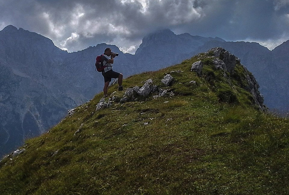 Slovenian landscape photographer Branko Cesnik with his camera