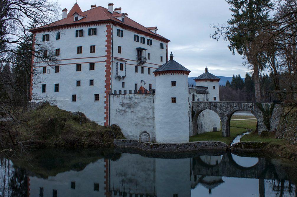 Exterior of the Sneznik Castle in Slovenia