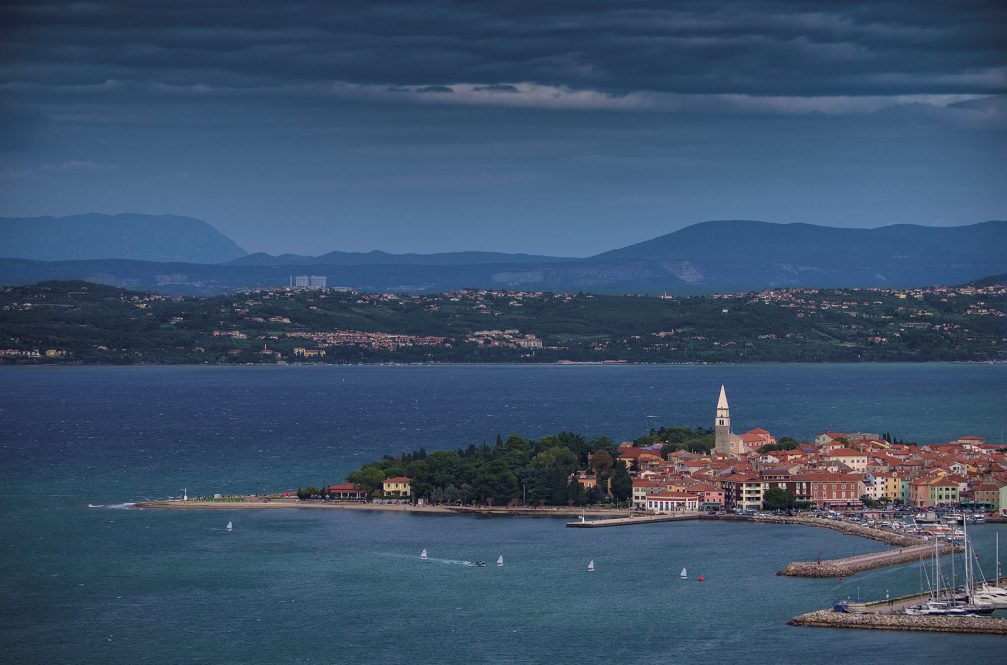 An elevated view of Izola, a small fishing town in Slovenia