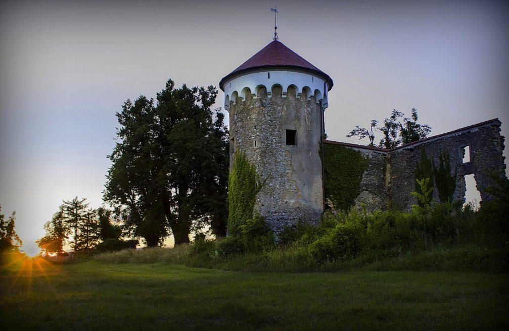 Exterior of the partially ruined Kalec Castle near Zagorje in Slovenia