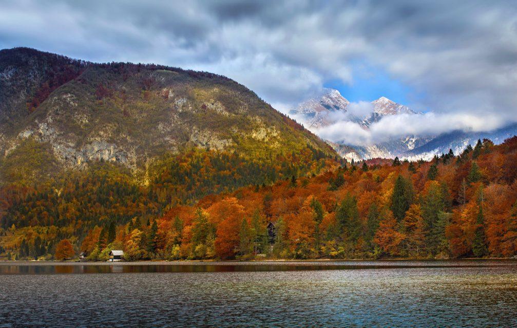 Lake Bohinj in autumn autumn-colors
