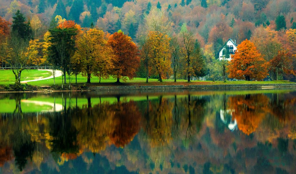 A glass-like lake surface of Lake Bohinj beautifully reflecting the surrounding landscape
