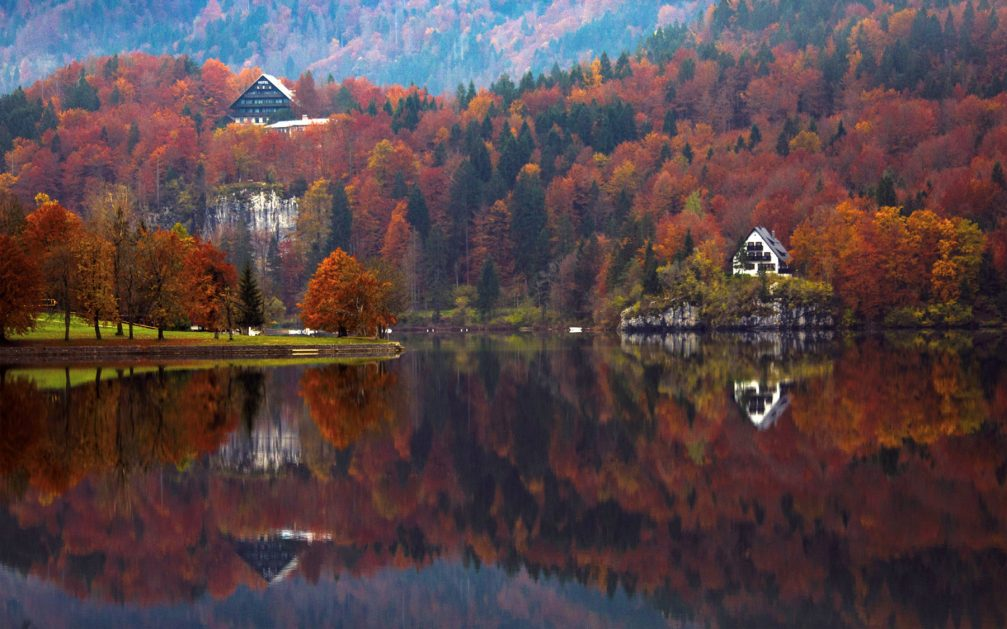 Picturesque Lake Bohinj in Slovenia during the fall season