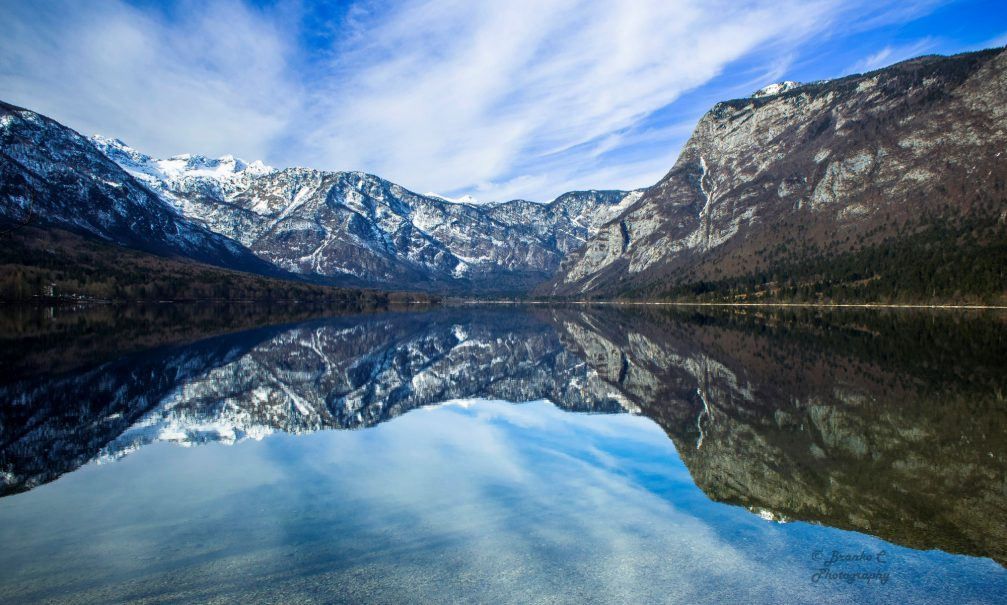 Lake Bohinj in the Triglav National Park in Slovenia