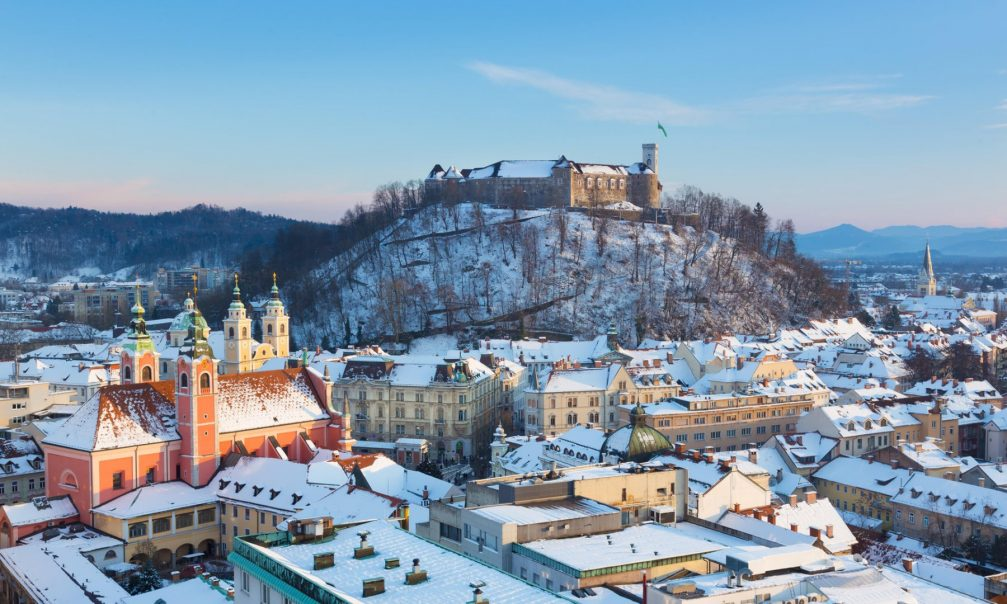 The capital city of Slovenia Ljubljana in winter with a covering of snow
