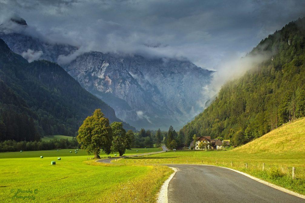 The Logarska Dolina alpine valley in the Kamnik Savinja Alps in northern Slovenia