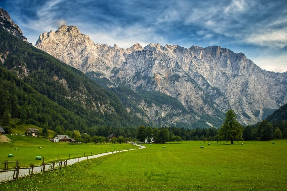 The Logarska Dolina landscape park and alpine valley in Slovenia