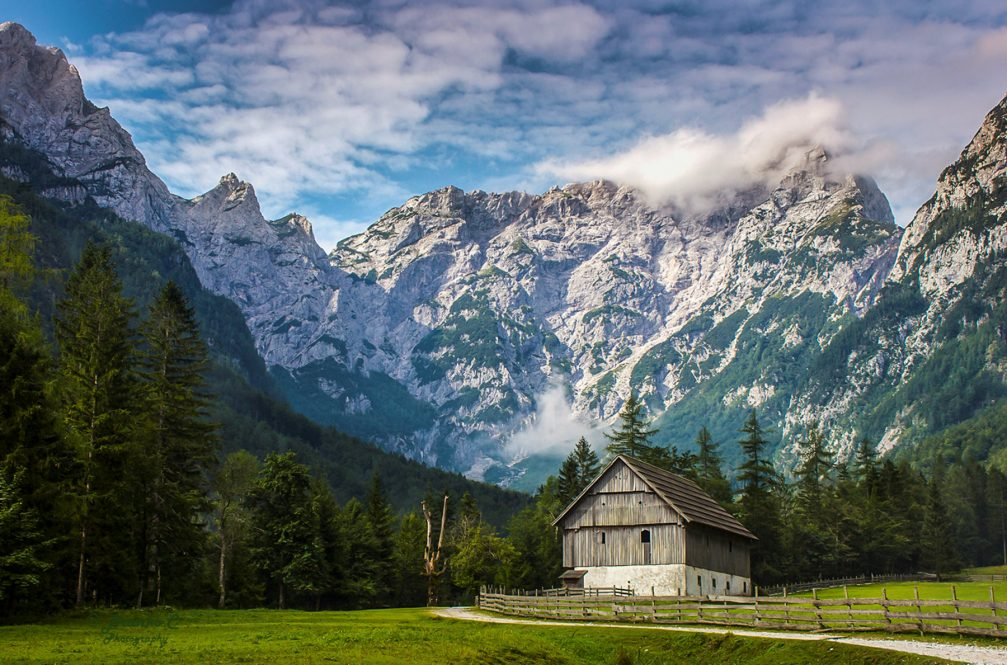 The Robanov Kot Landscape Park surrounded by the Kamnik Savinja Alps in northern Slovenia