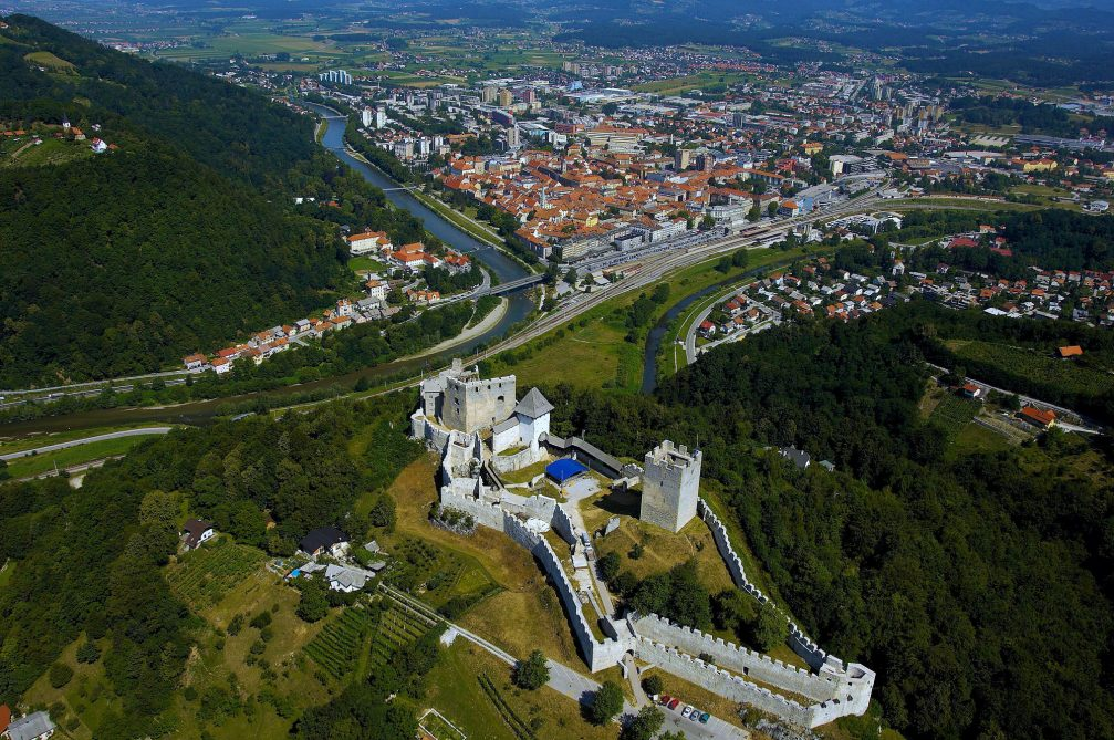 An aerial view of the city of Celje, Slovenia