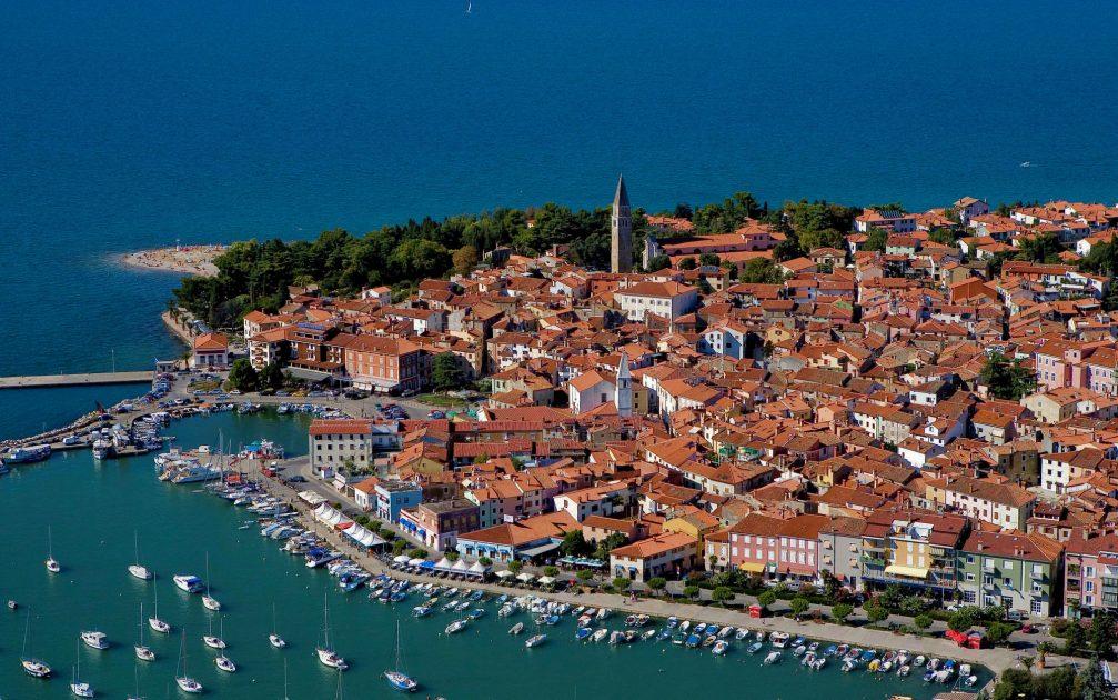 An aerial view of the coastal town of Izola, Slovenia