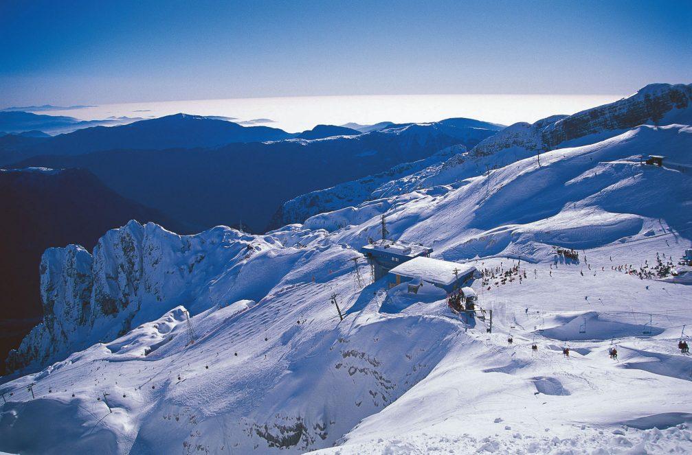 An aerial view of the Kanin ski resort in northwestern Slovenia