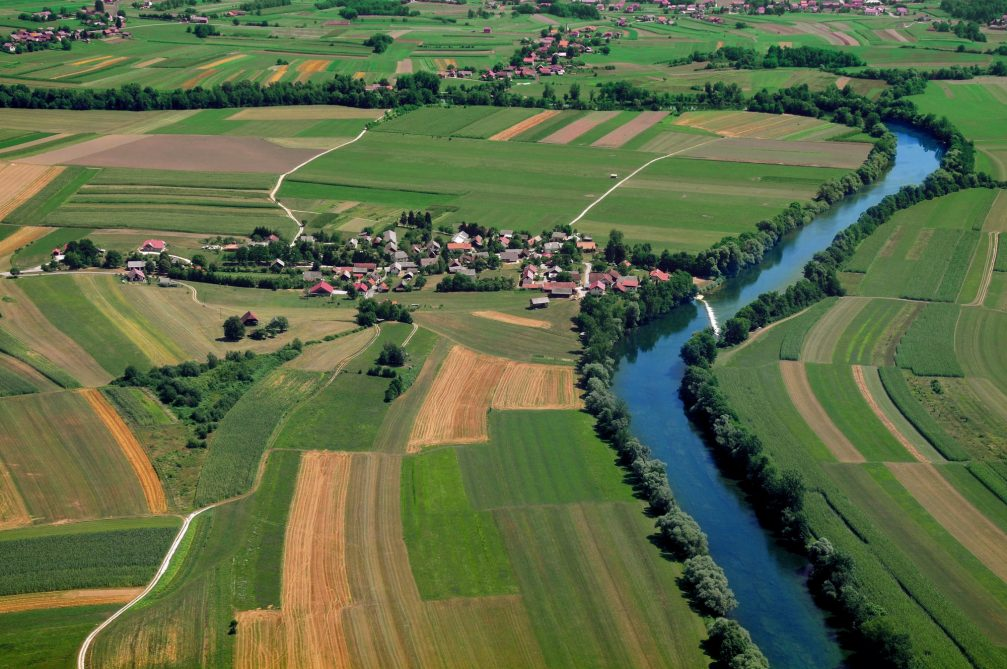 An aerial view of the Kolpa river in eastern Slovenia