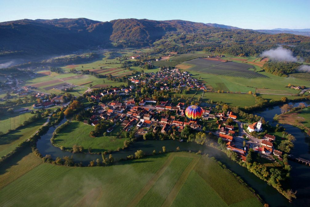 An aerial view of the town of Kostanjevica Na Krki in southwestern Slovenia