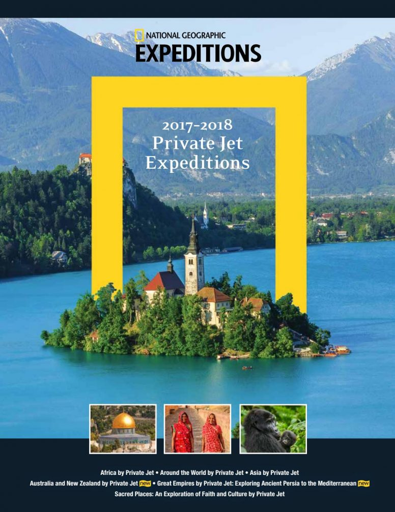 Lake Bled on the cover of the 2017-2018 National Geographic Private Jet Expeditions catalogue