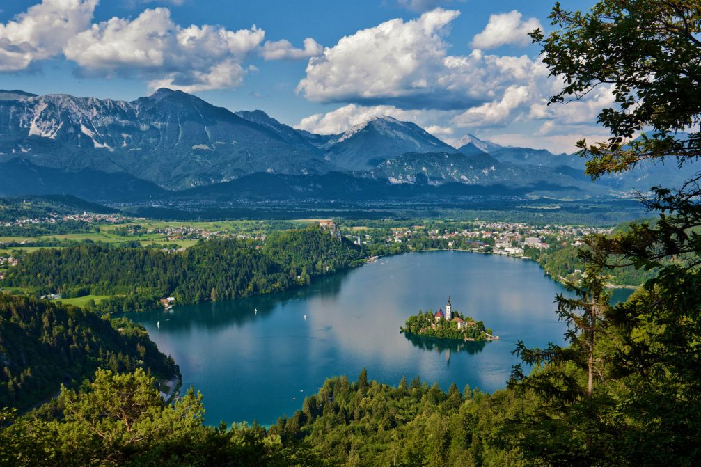 An elevated view of Lake Bled in Slovenia