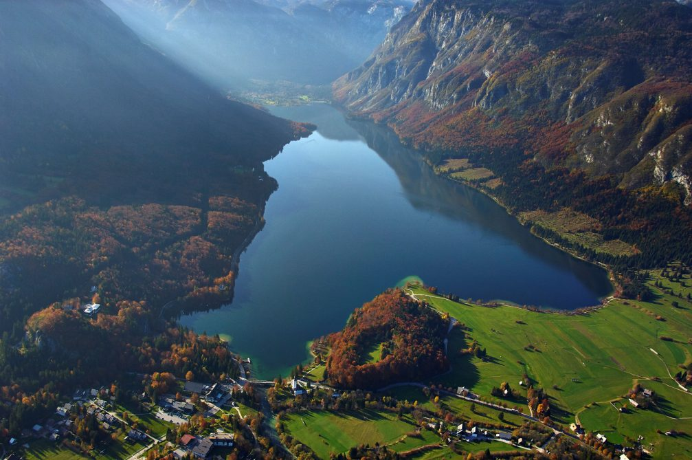 An aerial view of Lake Bohinj in northwestern Slovenia