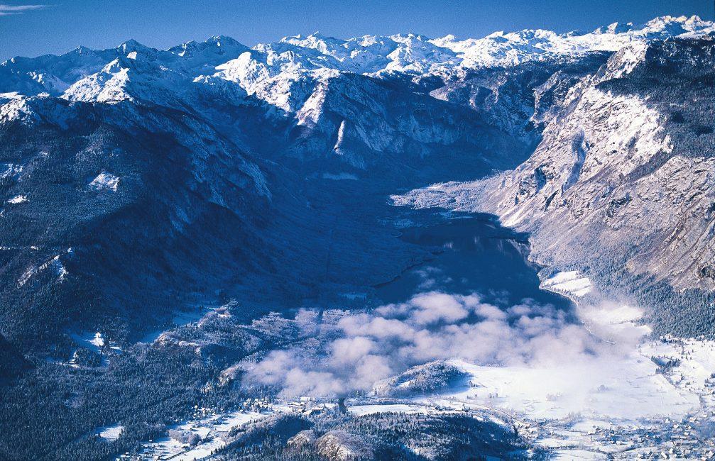 An aerial view of Lake Bohinj in northwestern Slovenia in winter