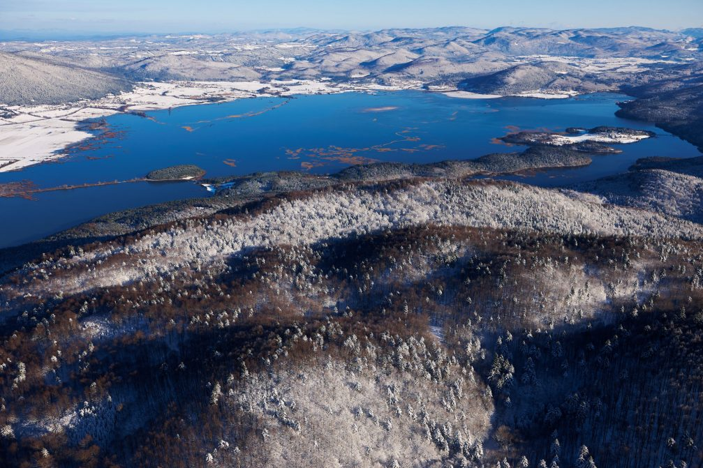 An aerial view of Lake Cerknica, an intermittent lake in southwestern Slovenia