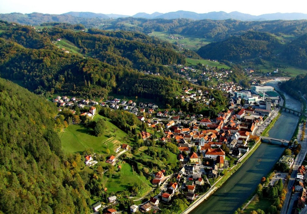 An aerial view of the town of Lasko in eastern Slovenia