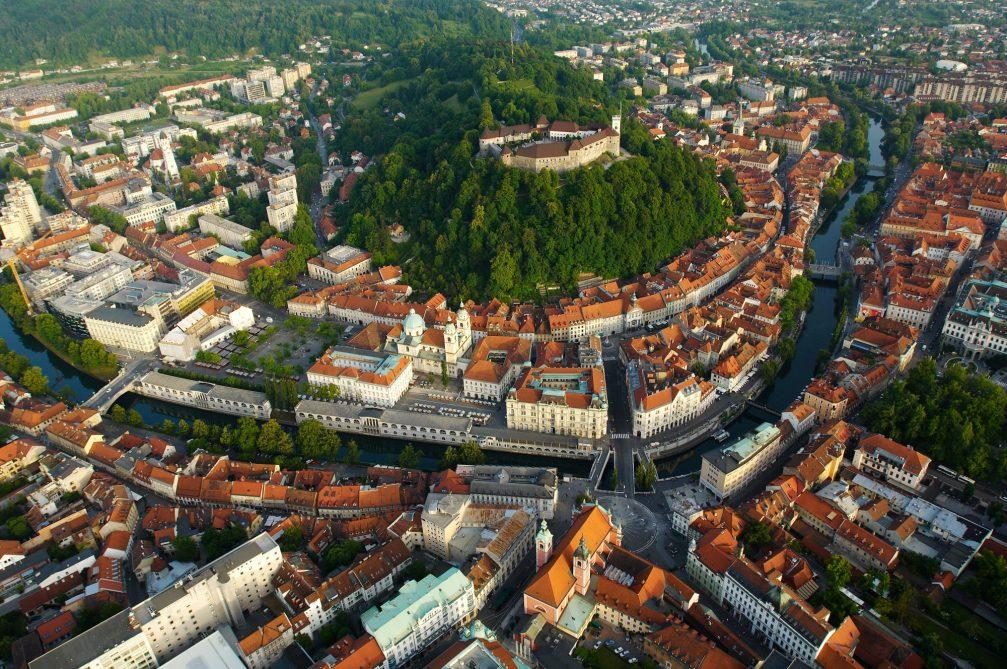 An aerial view of Ljubljana, the capital city of Slovenia