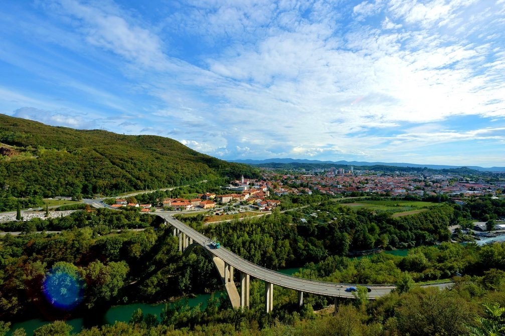 An aerial view of the city of Nova Gorica in western Slovenia