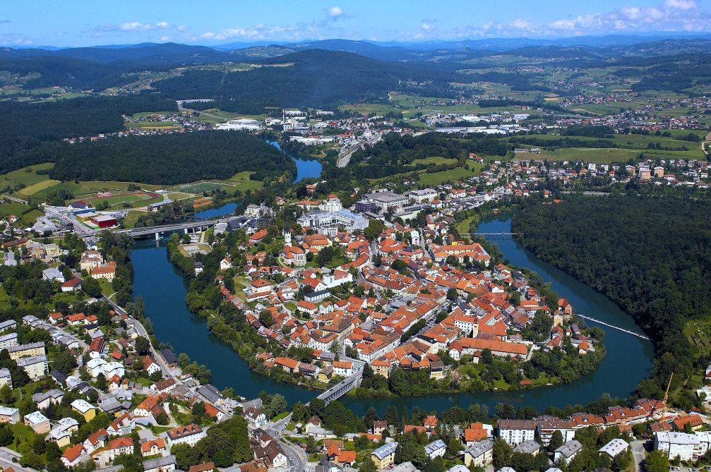 An aerial view of the town of Novo Mesto, Slovenia