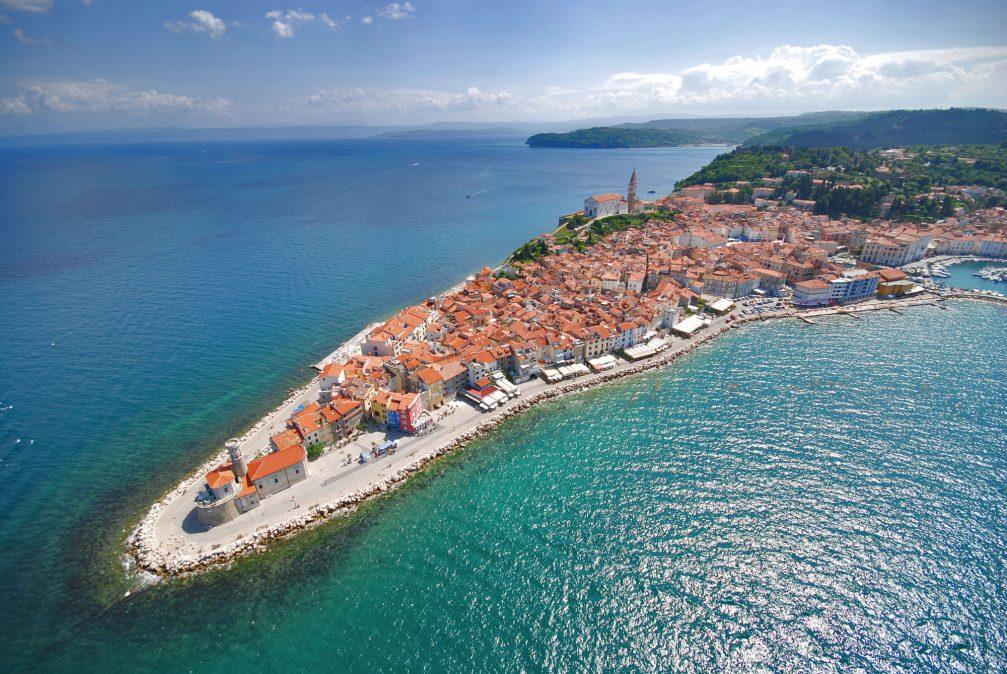 An aerial view of the coastal town of Piran, Slovenia