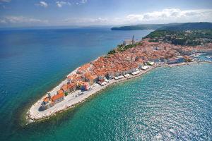 Aerial view of the coastal town of Piran in Slovenia