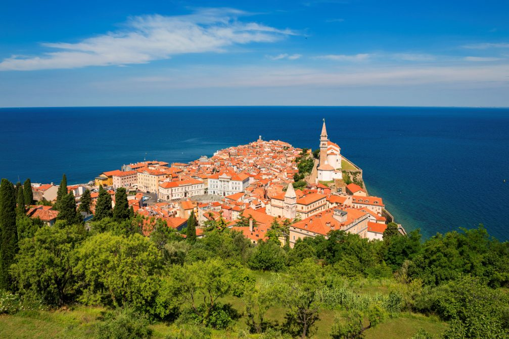 An elevated view of the coastal town of Piran, Slovenia