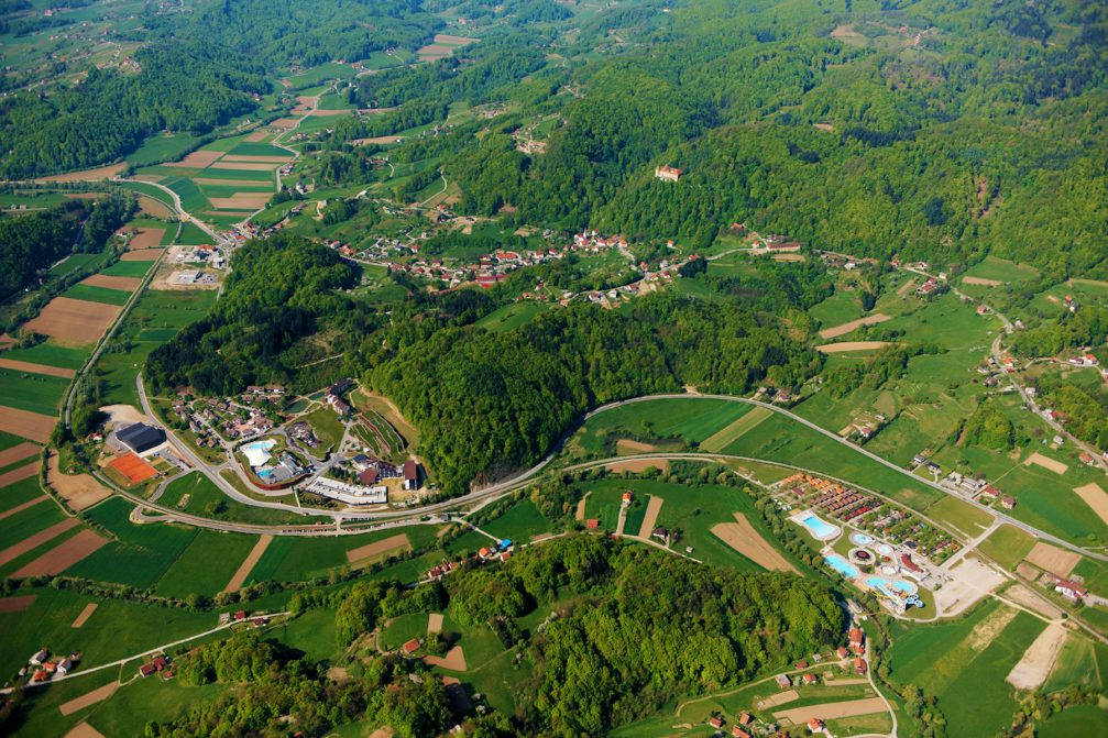 An aerial view of the spa village of Podcetrtek in Slovenia