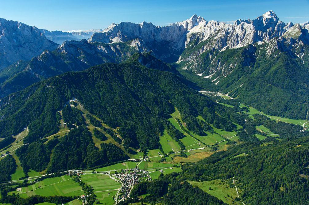 An aerial view of the picturesque alpine village of Podkoren, Slovenia