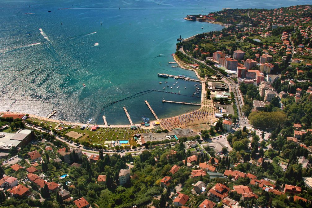 An aerial view of the coastal town of Portoroz in Slovenia